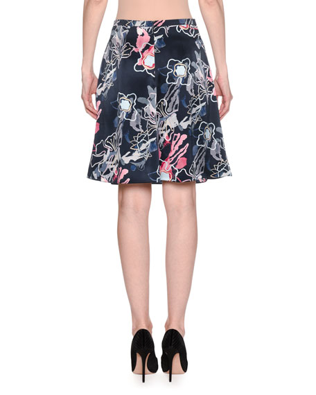Giorgio Armani Abstract Floral-Print Silk Satin A-Line Knee-Length Skirt
