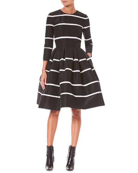 Carolina Herrera Three-Quarter Sleeve Fit-and-Flare Striped