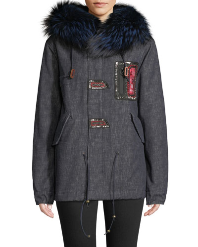 Fox Fur-Collar Embroidered Denim Parka Jacket