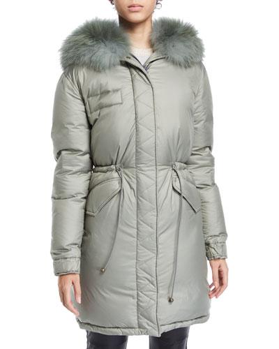 Fox-Collar Zip-Front Padded Down Puffer Coat
