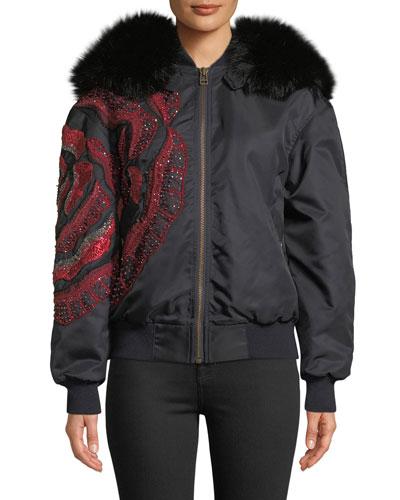 Fox Fur-Hood Flower-Beaded Nylon Bomber Jacket