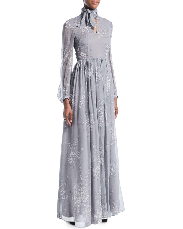 1eab8e22fa66 CoTie-Neck Long-Sleeve Floral-Print Silk Crinkled Chiffon Long Dress