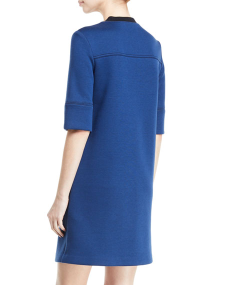 Image 2 of 2: Piazza Sempione 3/4-Sleeve 1/2-Zip Paneled Double Knit Dress