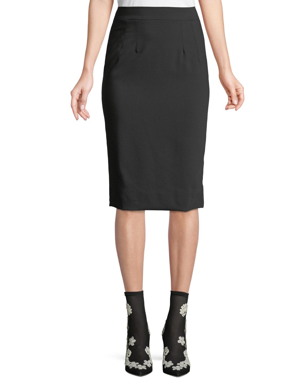 3f5316912df891 Dolce & Gabbana Classic Suiting Knee-Length Pencil Skirt | Neiman Marcus