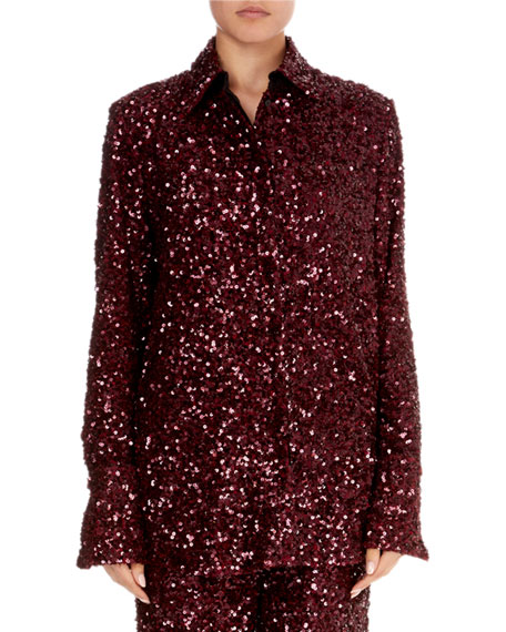 Button-Front Long-Sleeve Sequin Shirt