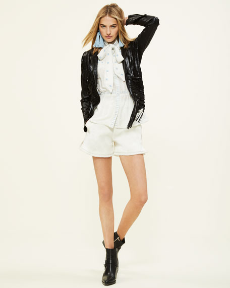 Talitha Collection Embroidered Cotton Tailored Shorts w/ Frayed Hem