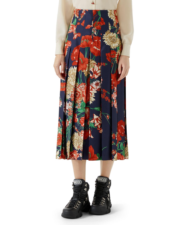 4b6624f20f Gucci Pleated Spring Bouquet Silk Skirt | Neiman Marcus