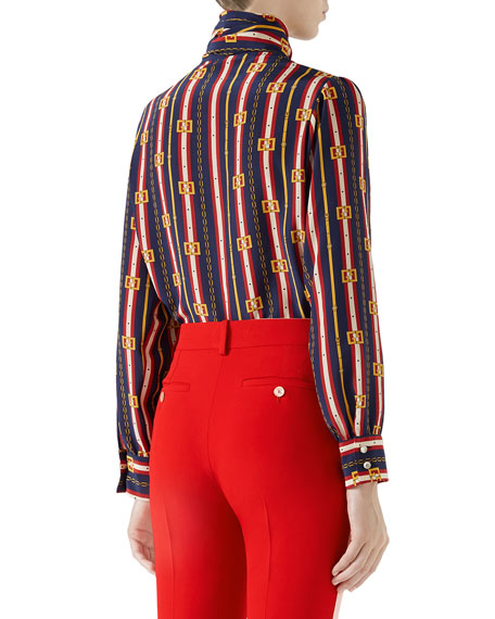 Bow-Neck Long-Sleeve Button-Front Silk Crepe de Chine Blouse