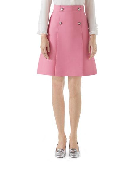 High-Waist A-Line Cady Crepe Wool Silk Skirt