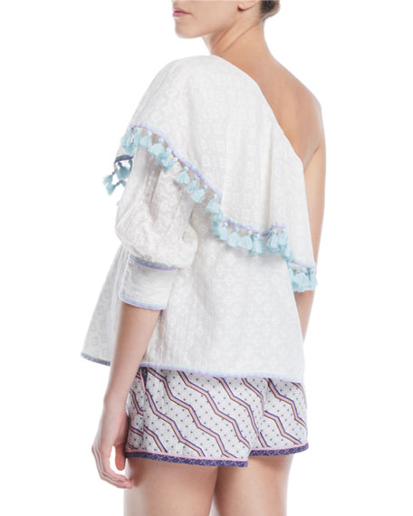 One-Shoulder Cutwork Silk-Cotton Blouse w/ Tassel Trim
