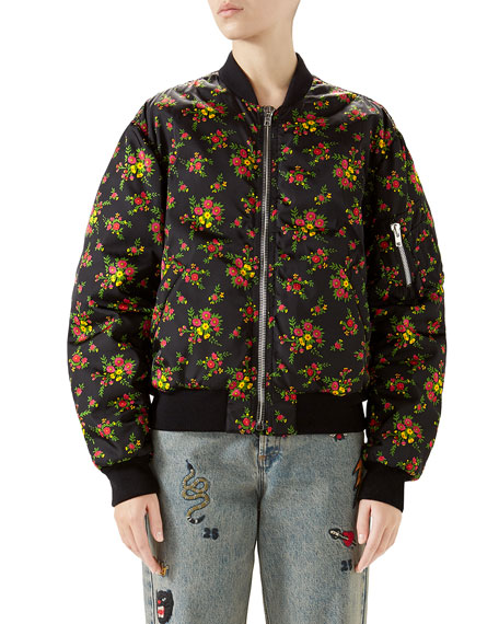 Bouquet-Print Zip-Front Woven Bomber Jacket
