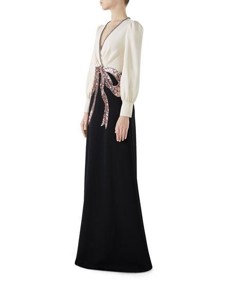Long-Sleeve Evening Gown w/ Bow Embroidery
