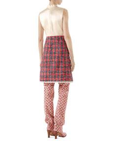 7869b77772 Gucci Sleeveless A-Line Dress w/ Tweed Skirt & Satin Bodice | Neiman Marcus