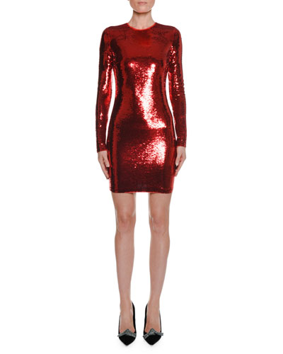 Long-Sleeve Round-Neck Liquid-Sequin Cocktail Dress