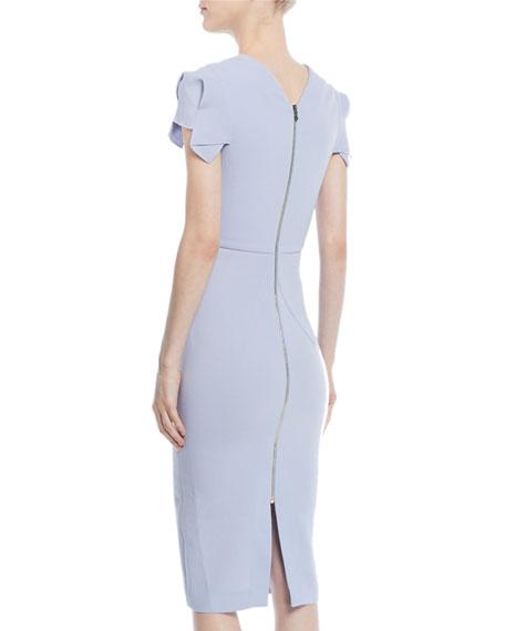 Square-Neck Cap-Sleeve Sheath Dress