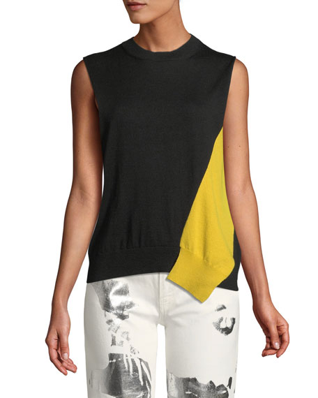 Crewneck Cold-Shoulder Colorblock Knit Sweater w/ Removable Sleeves