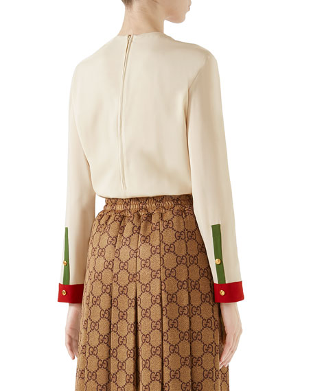 5be0ea68 Gucci Long-Sleeve Button-Front Colorblock Silk Blouse | Neiman Marcus