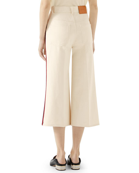 Gucci Washed Cotton Web-Trim Culotte Trousers