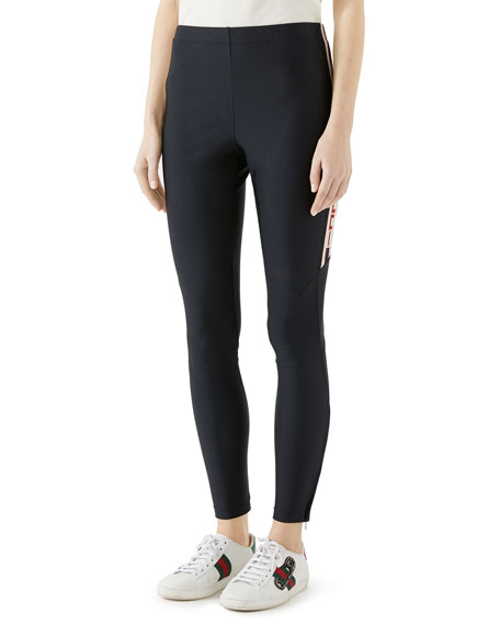 Gucci Shiny Jersey Leggings w/ Gucci Sport Trim