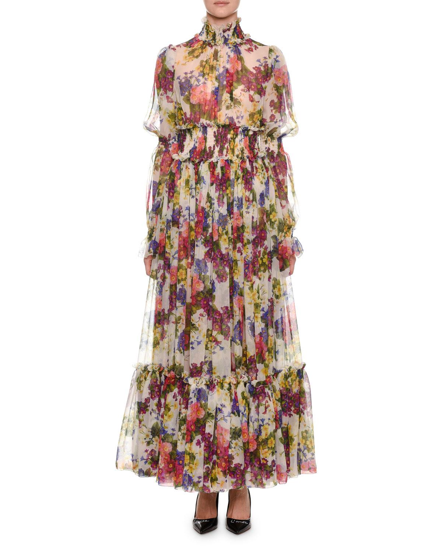 8268657c58c Dolce   Gabbana Mock-Neck Long-Sleeve Ruched-Waist Floral-Print Chiffon