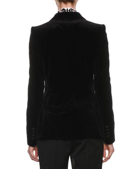 Peak-Lapel One-Button Velvet Jacket