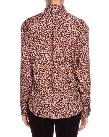 f8c1d914ec6 Saint Laurent Long-Sleeve Button-Front Tiny Floral-Print Silk Shirt ...