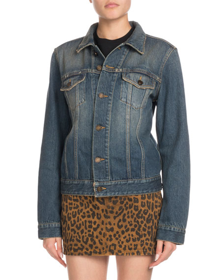 Button-Front Long-Sleeve Denim Jacket w/ University Emblem Print on Back