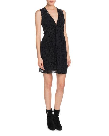 V-Neck Sleeveless Drape-Front Velvet Dotted Georgette Dress