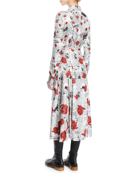 Jane Button-Front Long-Sleeve Newspaper & Rose Print Shirtdress