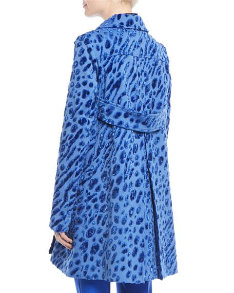 Velvet Tiger-Print Double-Breasted Coat