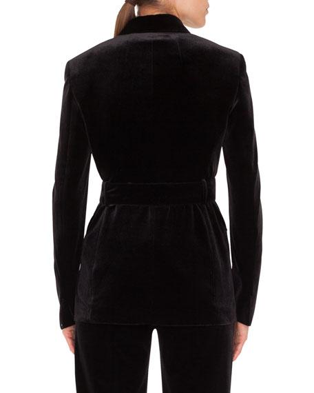 Silvana Double-Breasted Velvet Jacket w/ Self-Belt