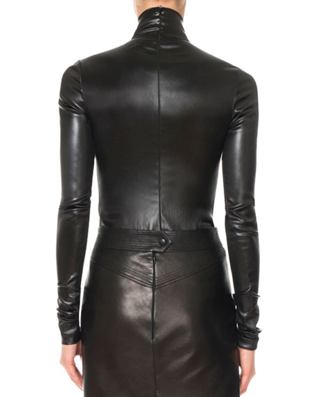 Givenchy Mock-Neck Long-Sleeve Fitted Stretch-Satin Blouse