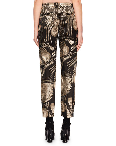 Dries Van Noten Mid-Rise Straight-Leg Cropped Metallic-Jacquard Pants