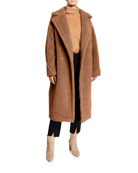 Maxmara Double-Breasted Camel Hair Blend Teddy Coat