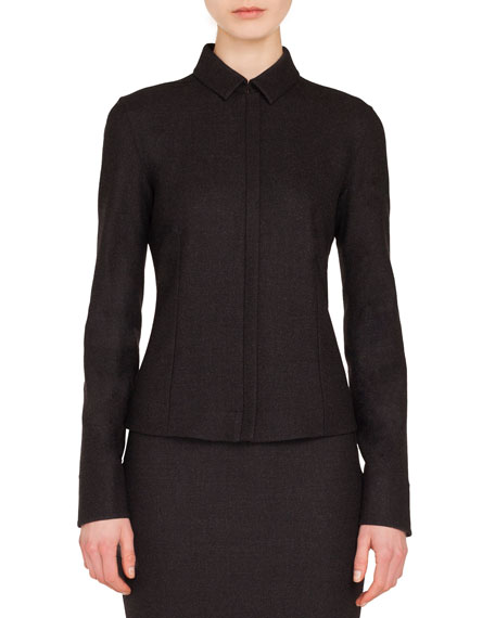 Zip-Front Shirt-Collar Long-Sleeve Wool Flannel Blouse