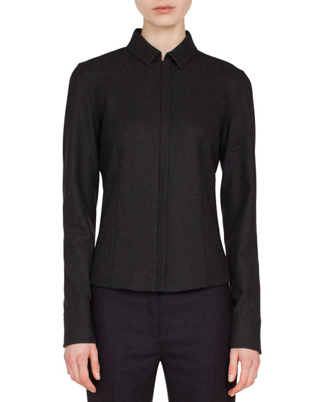 Akris Zip-Front Shirt-Collar Long-Sleeve Wool Flannel Blouse and