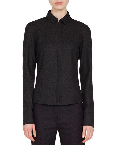 Akris Zip-Front Shirt-Collar Long-Sleeve Wool Flannel Blouse