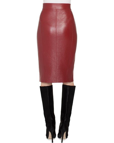 Front-Wrap Pebble Deer Leather Pencil Skirt