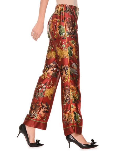 F.R.S For Restless Sleepers Animal-Print Needlepoint Silk Satin Pajama Pants