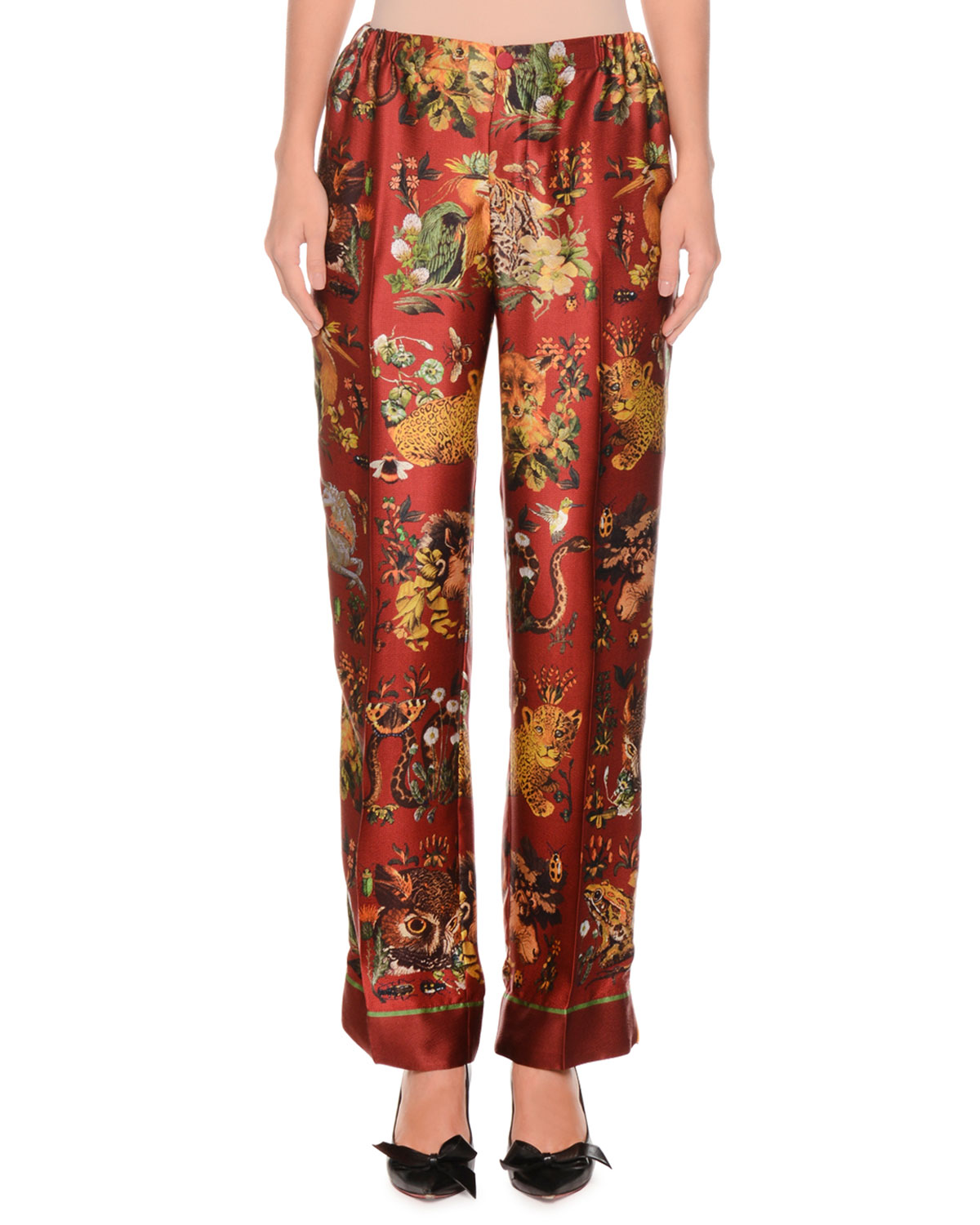 d08f0c34b0ae F.R.S For Restless SleepersAnimal-Print Needlepoint Silk Satin Pajama Pants