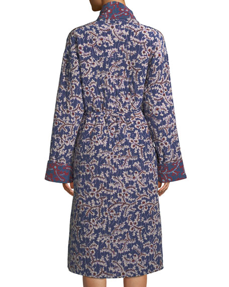 Karina Spanish-Ivy Reversible Silk Robe Coat