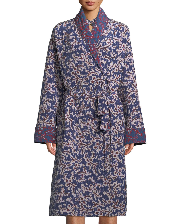 5963f2f7032 Figue Karina Spanish-Ivy Reversible Silk Robe Coat | Neiman Marcus