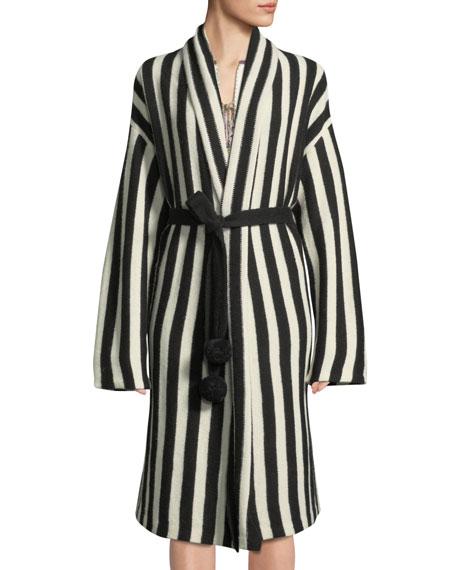 Fatima Belted Striped Alpaca-Blend Cardigan Sweater