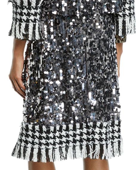 Dolce & Gabbana Sequined Houndstooth-Hem Skirt