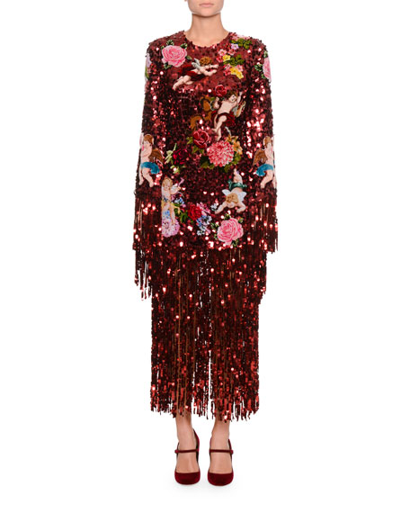 Dolce & Gabbana Long-Sleeve Paillette Sequin Rose-Patch Fringe-Bottom Evening Dress