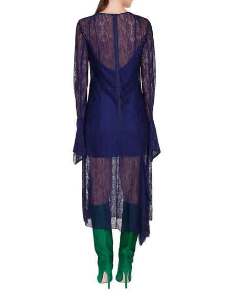 Long-Sleeve Round-Neck Draped Lace Dress w/ Panel Slits