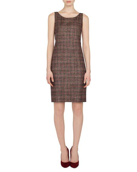 Sleeveless Round-Neck Sheath Plaid Wool-Silk Dress