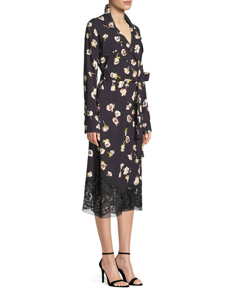 Double-Breasted Floral-Print Wrap Dress with Lace Hem