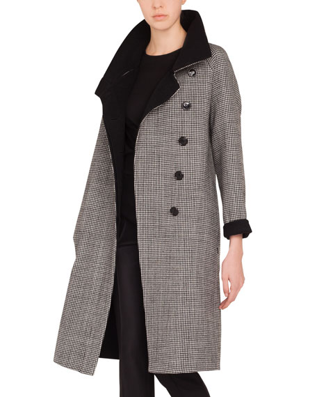Terrance Reversible Stand-Collar Button-Panel Houndstooth Wool Coat
