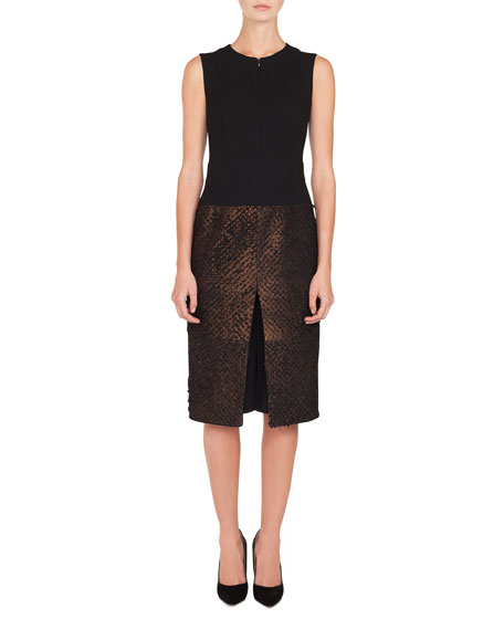 Akris Sleeveless Solid-Bodice Metallic-Eyelash Skirt A-Line Dress w/ Inset